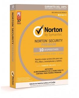 Norton Security Premium 1 Año 10 dispositivos - Envío Gratuito