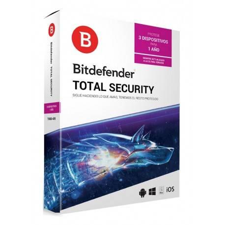 Bitdefender Total Security MD 1 Año 3 usuarios - Envío Gratuito