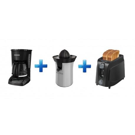 Black & Decker Combo Cafetera Exprimidor Tostador Negro / Plata - Envío Gratuito