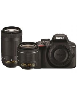 Nikon Cámara D3400 con lentes 18-55mm + 70-300mm Negro - Envío Gratuito