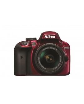 Nikon Cámara D3400 AF-P 18-55 DX VR Rojo - Envío Gratuito