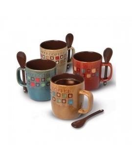 Gibson Set de tazas para café americano 8 piezas con cuchara Distintos colores