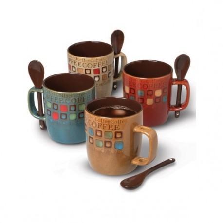 Gibson Set de tazas para café americano 8 piezas con cuchara Distintos colores - Envío Gratuito