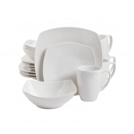 Gibson Vajilla cuadrada de cerámica 16 piezas Blanco - Envío Gratuito