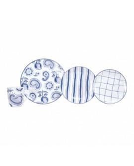 Crown Baccara Vajilla de porcelana Indigo con 16 piezas para 4 personas