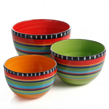 Gibson Set de 3 bowls redondos de cerámica - Envío Gratuito