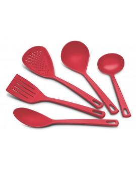 Tramontina Set de 5 utensilios básicos Rojo
