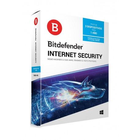 Bitdefender Internet Security 1 Año 3 usuarios - Envío Gratuito