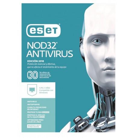 ESET Antivirus NOD32 5 Licencias 1 Año V2018 - Envío Gratuito