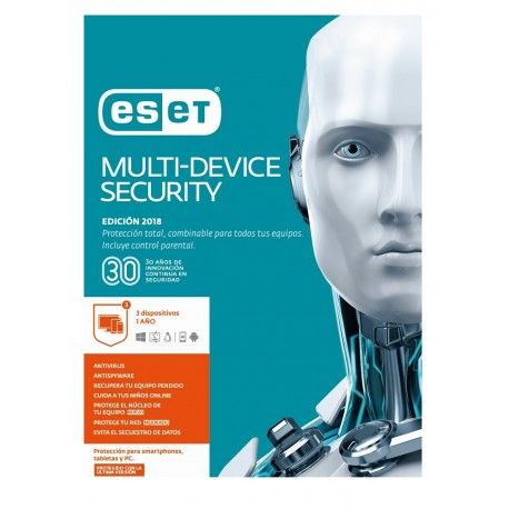 ESET MultiDevice Security 3 Licencias 1 Año V2018 - Envío Gratuito