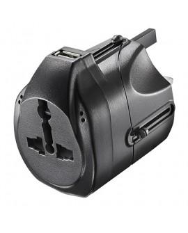Insignia Adaptador de viaje con USB Negro