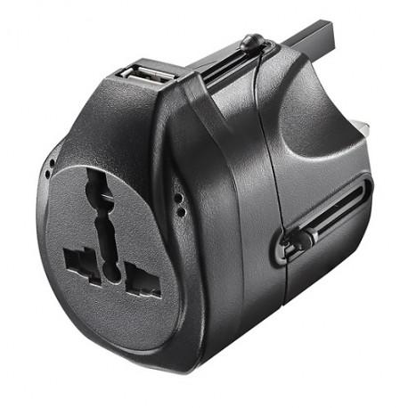 Insignia Adaptador de viaje con USB Negro - Envío Gratuito