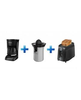 Black & Decker Combo Cafetera Exprimidor Tostador Negro / Plata