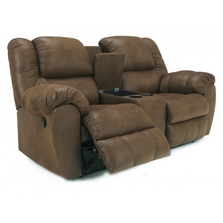 Ashley Furniture Quarterback Loveseat con Reclinable y Consola Café - Envío Gratuito