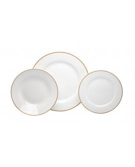 Crown Baccara Vajilla redonda con filo de porcelana con 12 piezas Blanco