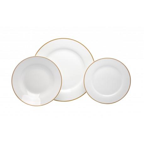 Crown Baccara Vajilla redonda con filo de porcelana con 12 piezas Blanco - Envío Gratuito