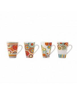 Crown Baccara Juego de tazas Cricle de porcelana con 4 piezas