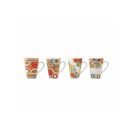 Crown Baccara Juego de tazas Cricle de porcelana con 4 piezas - Envío Gratuito