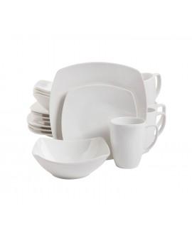 Gibson Vajilla cuadrada de cerámica 16 piezas Blanco