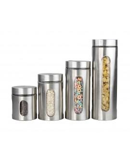Home Basics Set de 4 frascos de acero inoxidable con ventana