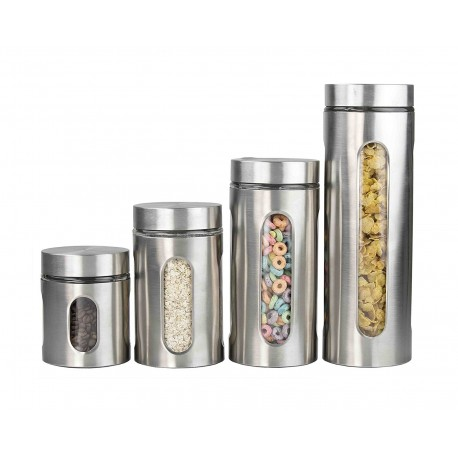 Home Basics Set de 4 frascos de acero inoxidable con ventana - Envío Gratuito