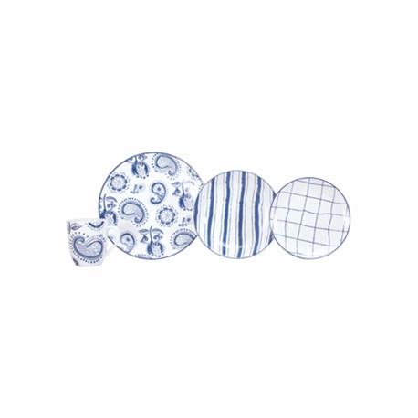 Crown Baccara Vajilla de porcelana Indigo con 16 piezas para 4 personas - Envío Gratuito