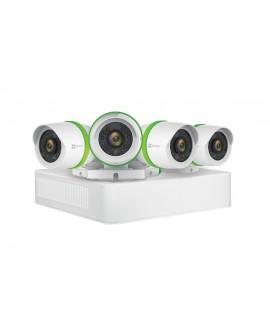 Ezviz DVR de 8 canales, 4 cámaras de 3MP y 1 TB de almacenamiento Blanco/Verde - Envío Gratuito