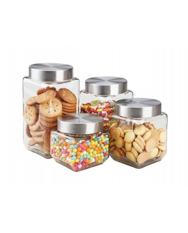 Home Basics Set de 4 frascos de cristal y acero inoxidable multiisos